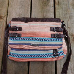 Roxy Boho Pink Peach Patterned Striped Satchel Bag